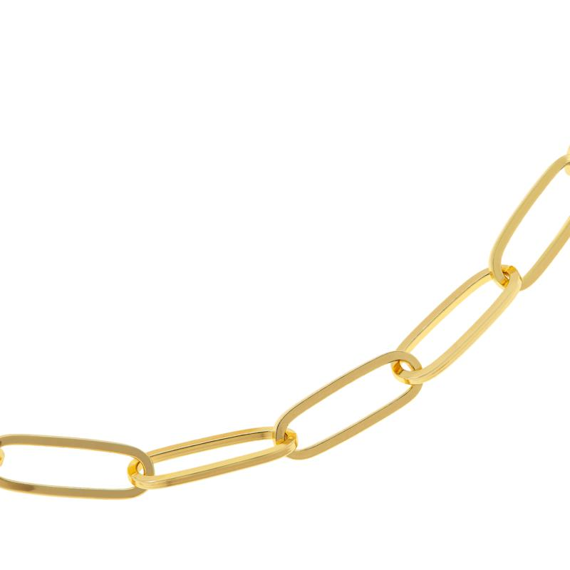 """Bellezza 20"""" Bronze Elongated Oval Paperclip Chain Necklace"""
