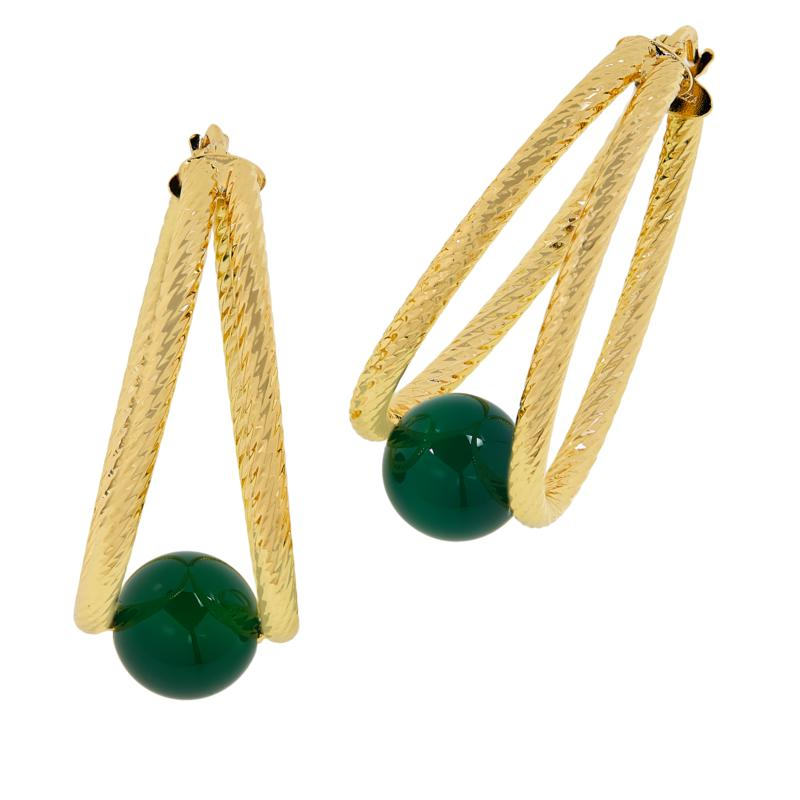 Bellezza Bronze Agate Rope-Textured Split Hoop Earrings