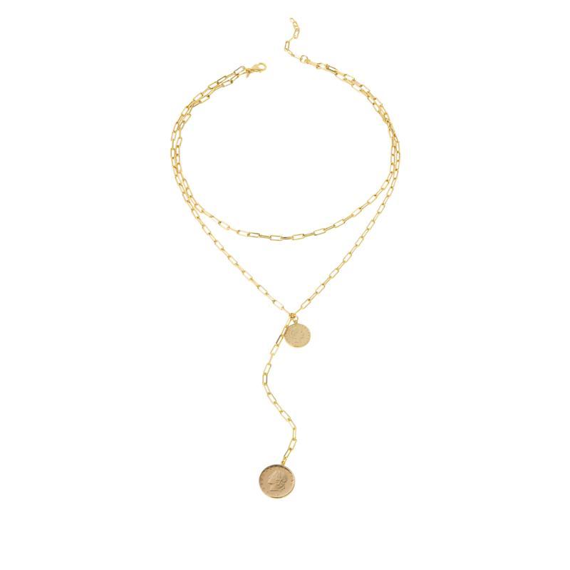 Bellezza Double Lira Coin Paperclip Link Drop Necklace