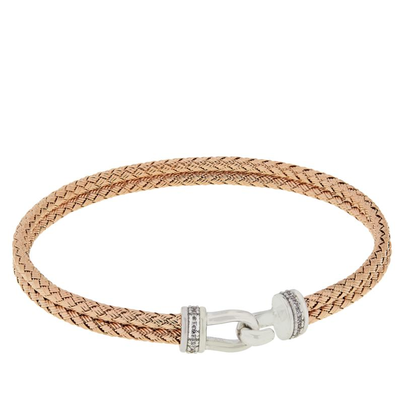 Bellezza Rose Gold-Plated Sterling Silver CZ Woven Buckle Bracelet