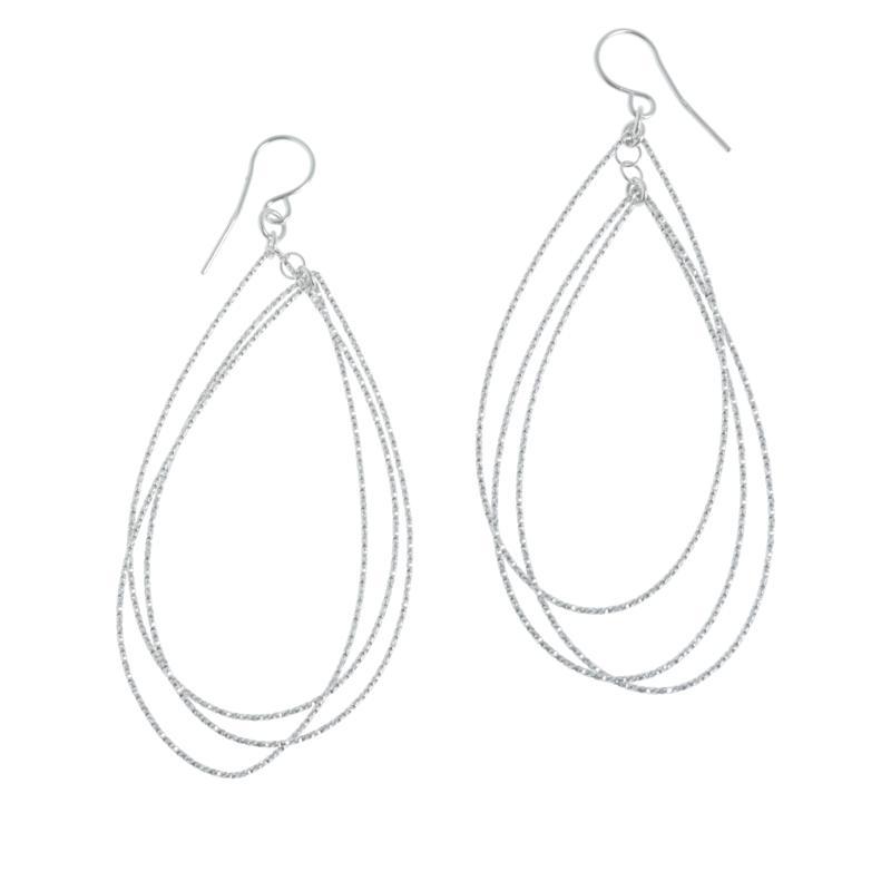 Bellezza Sterling Silver Diamond-Cut Triple Teardrop Earrings