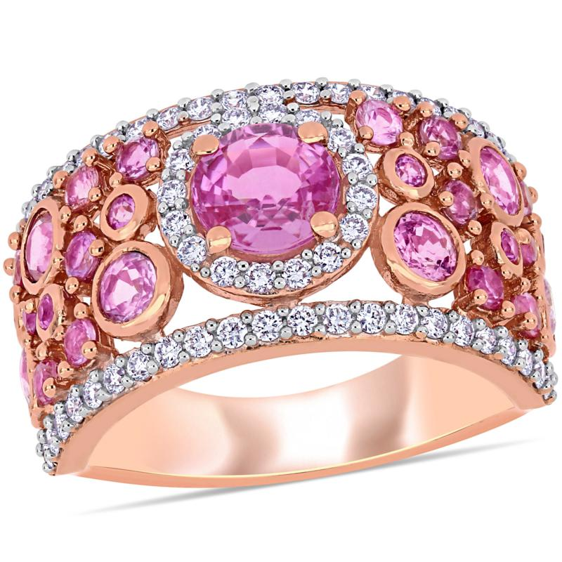 Bellini 14K Rose Gold Pink Sapphire and Diamond Cigar Ring