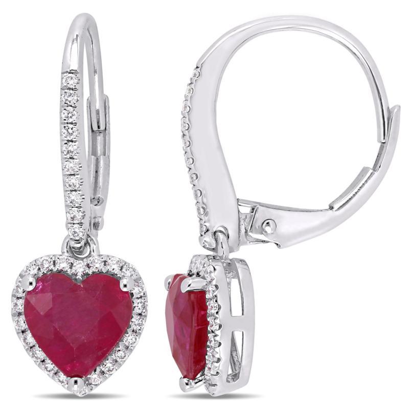 Bellini 14K White Gold Ruby Heart Diamond-Accented Drop Earrings