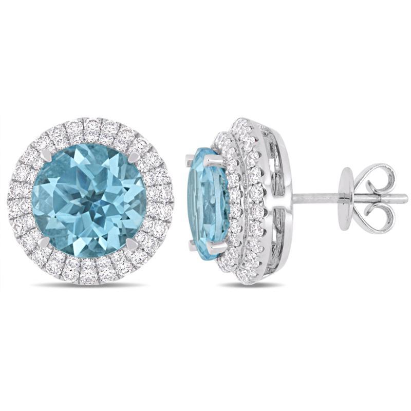Bellini  14K White Gold Sky Blue Topaz and Diamond Halo Stud Earrings