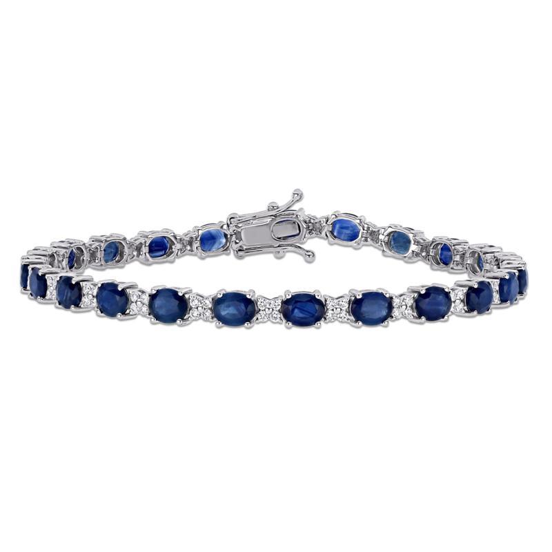 Bellini 18K White Gold Blue Sapphire and Diamond Tennis Bracelet