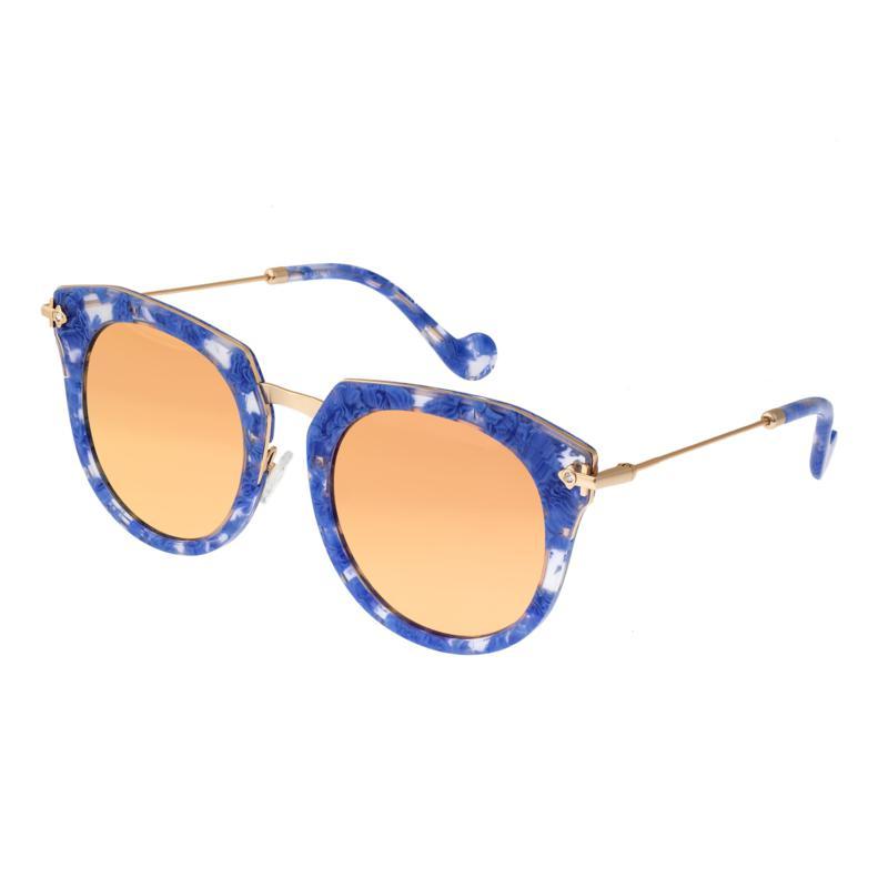 Bertha Aaliyah Polarized Sunglasses - Blue Tortoise, Rose Gold Lenses