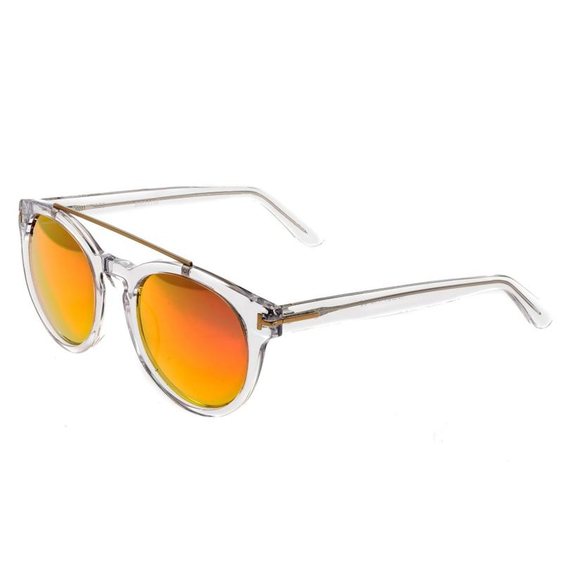 Bertha Ava Polarized Sunglasses with Clear Frames and Rose Gold Lenses