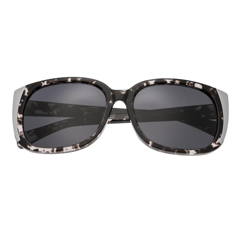 Bertha Natalia Polarized Sunglasses with Black Frames & Silver Lenses