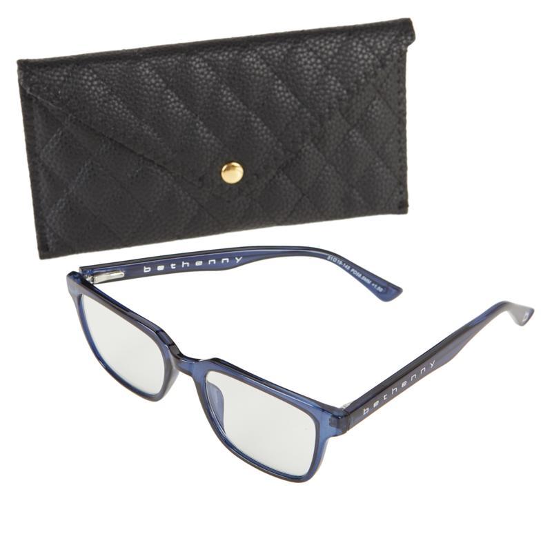 Bethenny Frankel The Deep Square Blue Light Reading Glasses with Case