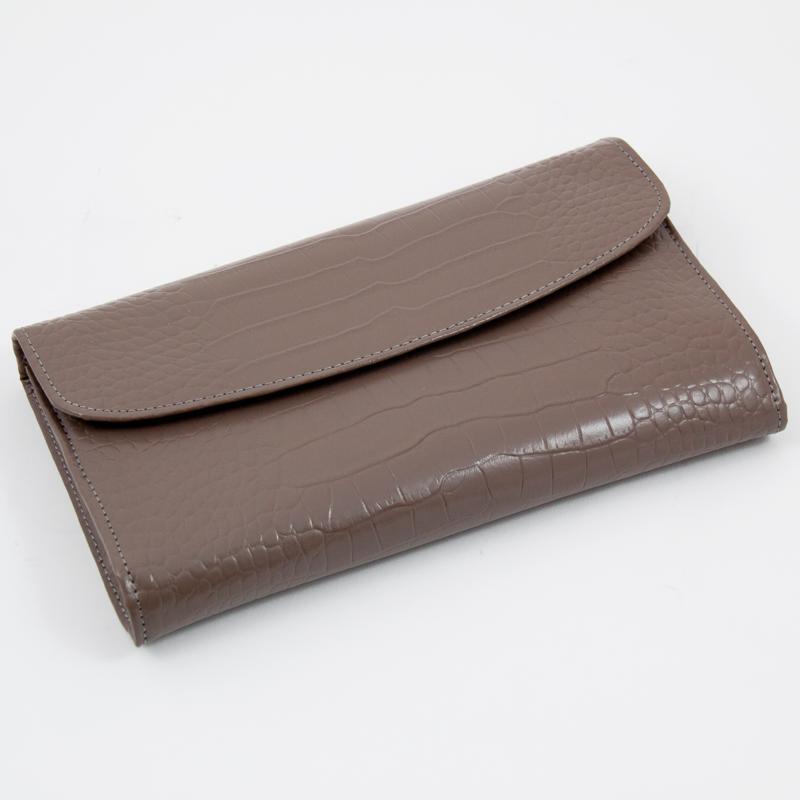 "Bey-Berk Gray ""Croco"" Leather Multi Compartment Jewelry Clutch"
