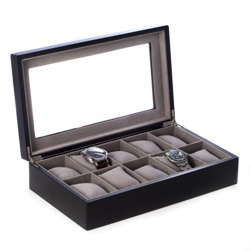 Bey-Berk Matte Black Wood 10 Watch Box