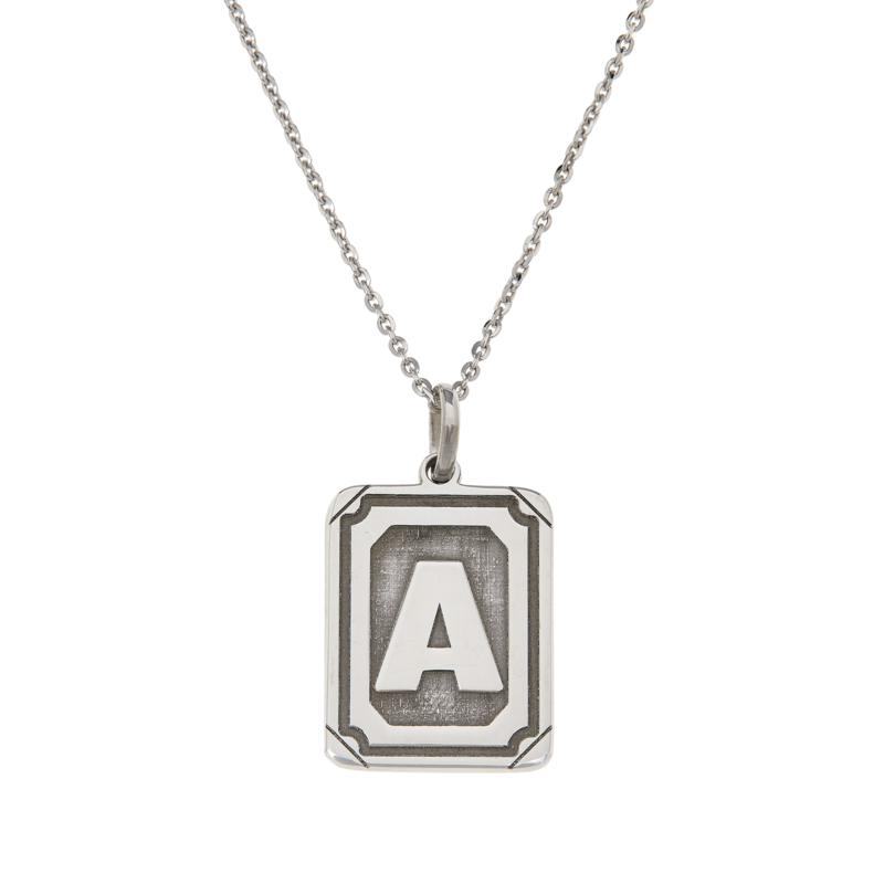 Bianca Milano Sterling Silver Rectangular Initial Pendant with Chain