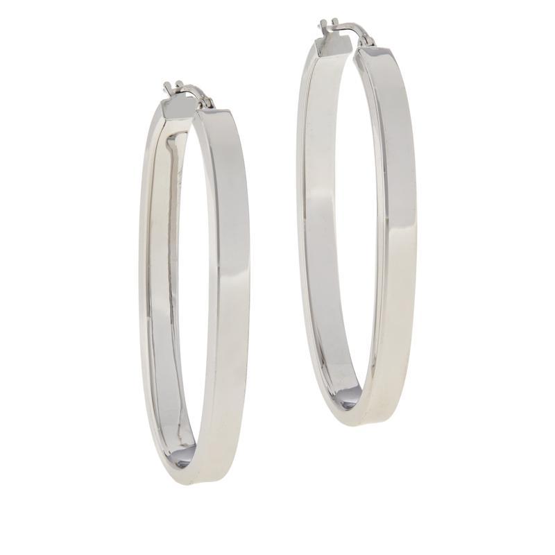 Bianca Milano Sterling Silver Square Edge Oval Hoop Earrings