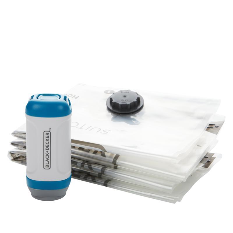 Black + Decker Handheld Travel Vacuum with 3 Space Saver Bags