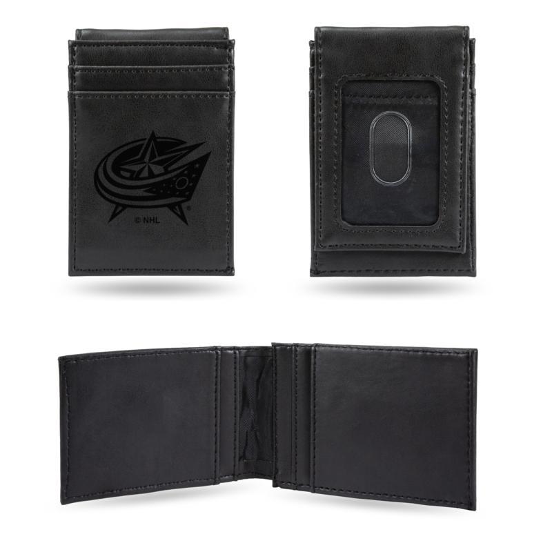 Blue Jackets Laser-Engraved Front Pocket Wallet - Black