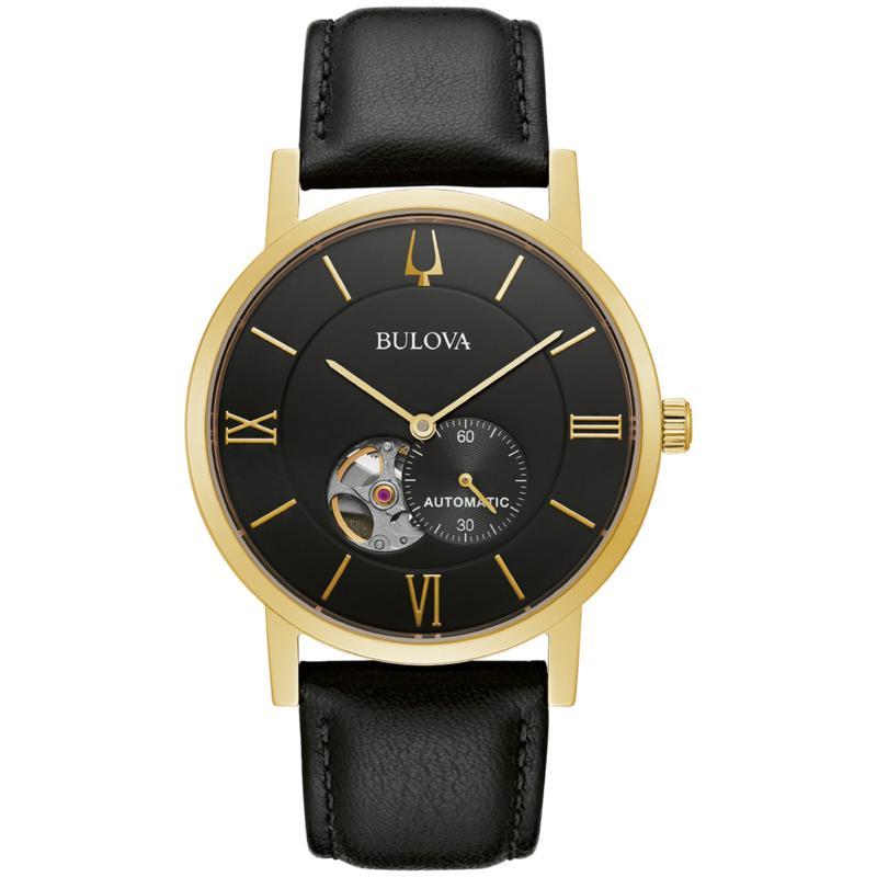Bulova Goldtone Men's Black Leather Strap Automatic Watch