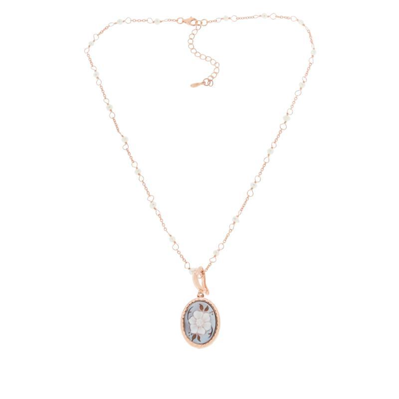"Cameo Italiano ""Old Memories"" Cameo & Cultured Pearl Pendant Necklace"