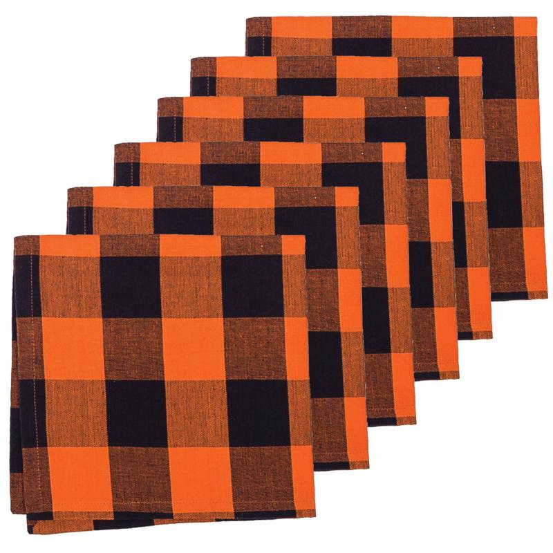 C&F Home Franklin Black/Orange Napkin Set of 6