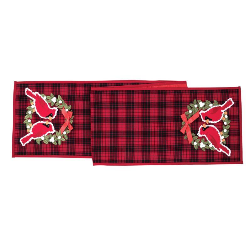 Cardinal Plaid Wreath Table Runner