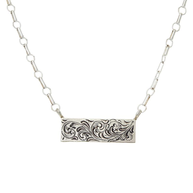 """Chaco Canyon 19-5/8"""" Sterling Silver Engraved Flower Bar Necklace"""