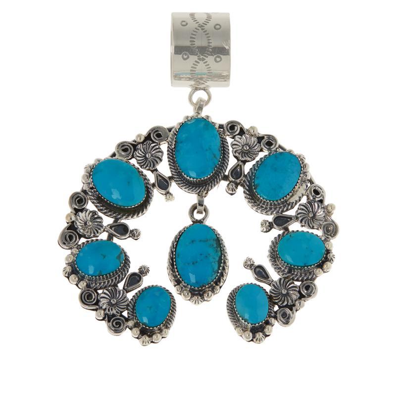 Chaco Canyon Naja Sterling Silver Kingman Turquoise Flower Pendant