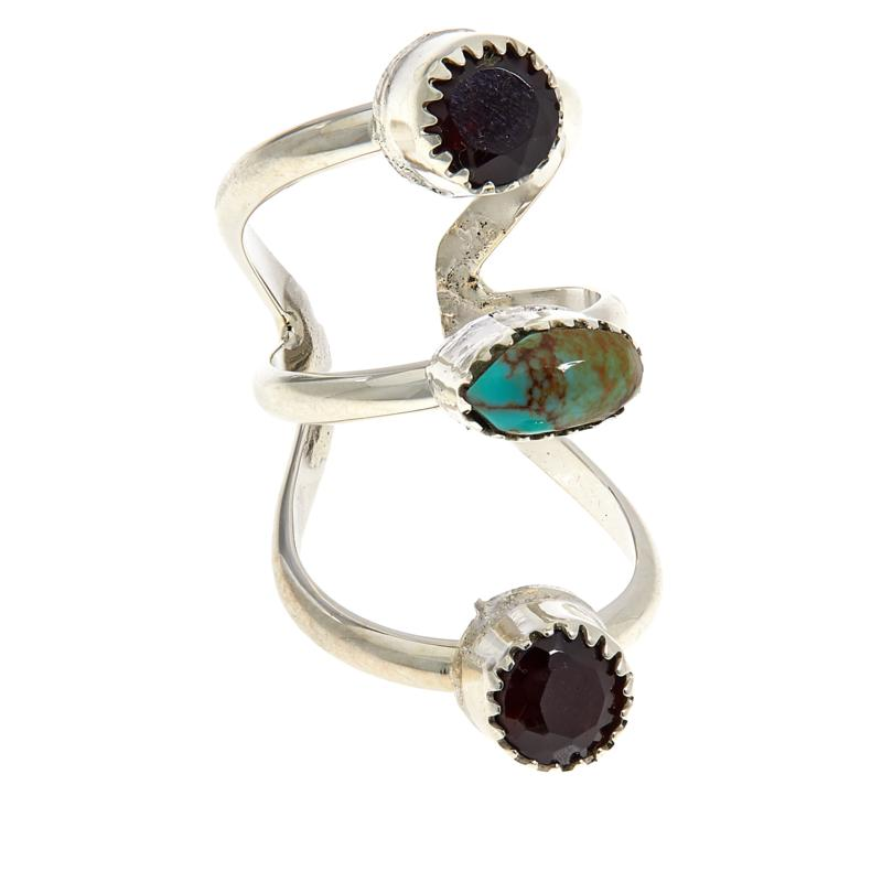 Chaco Canyon Sterling Silver Ceremonial Turquoise and Garnet Ear Cuff