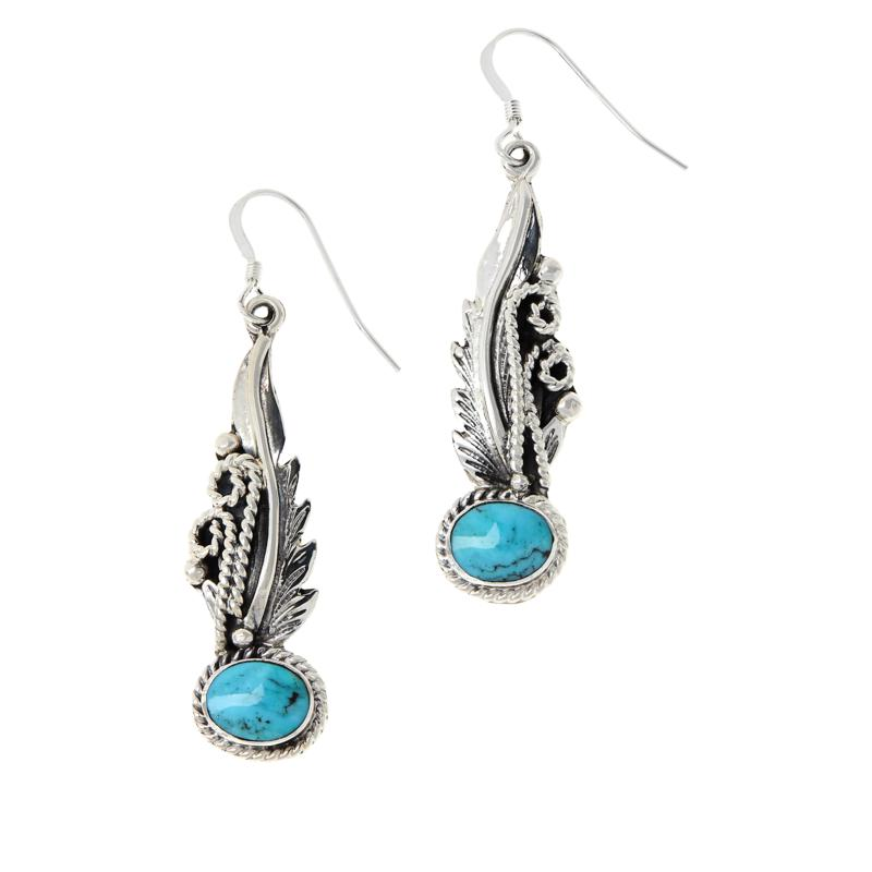 Chaco Canyon Sterling Silver Kingman Turquoise Feather Earrings