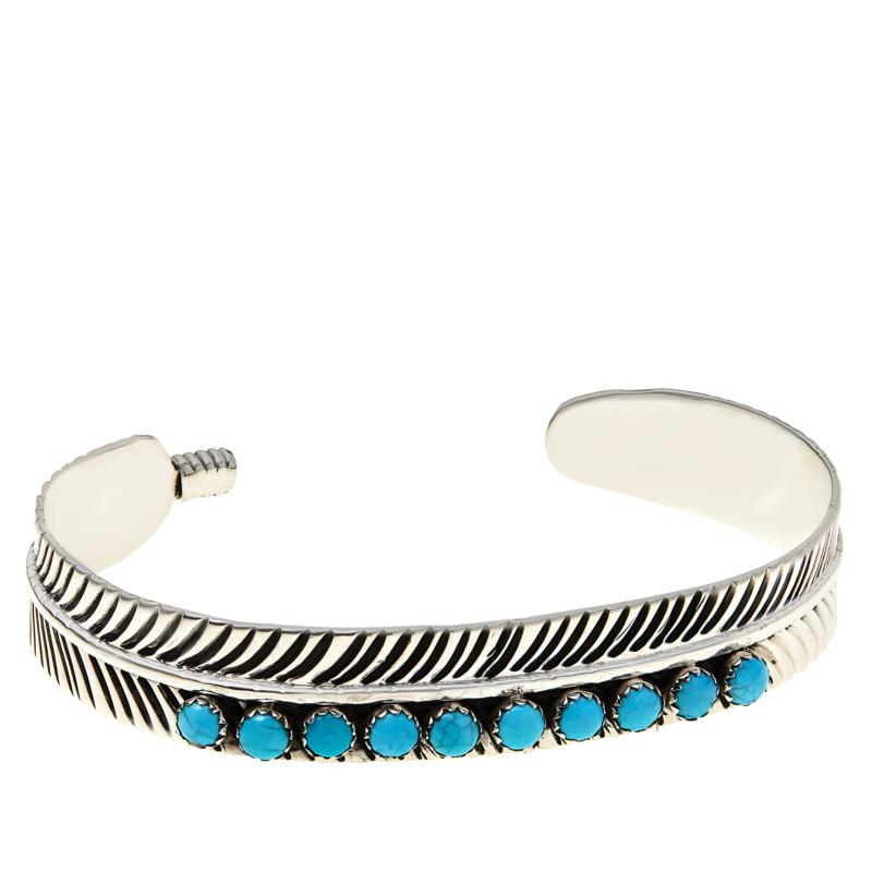Chaco Canyon Sterling Silver Sleeping Beauty Turquoise Feather Cuff