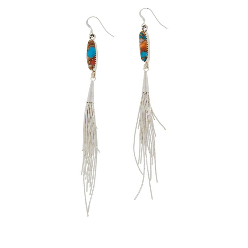 Chaco Canyon Sterling Silver Turquoise & Spiny Oyster Tassel Earrings