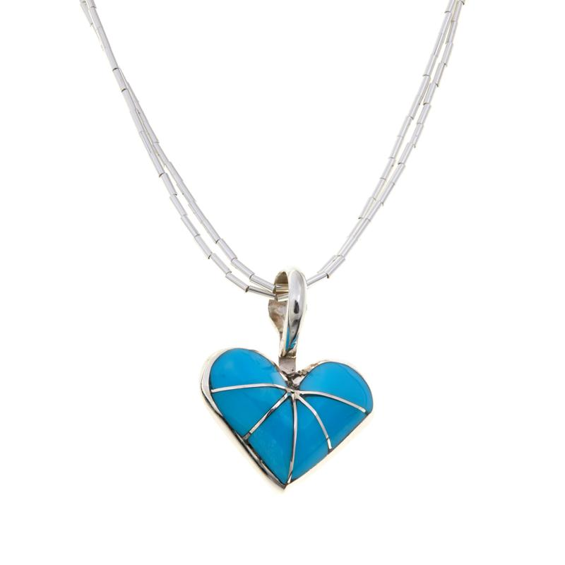 Chaco Canyon Zuni Turquoise Heart Pendant and Necklace