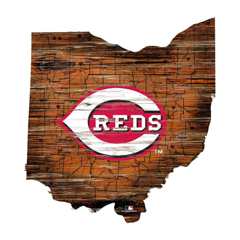 Cincinnati Reds 24in. Distressed State w/Logo Sign