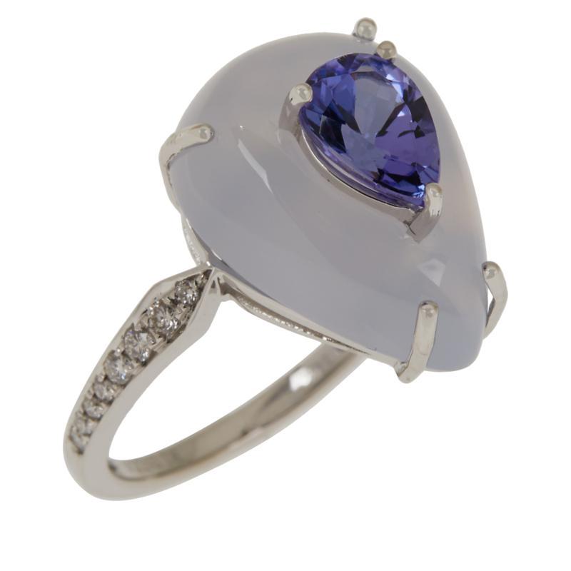 Cirari 14K Gold Tanzanite, Chalcedony and Diamond Pear-Shaped Ring