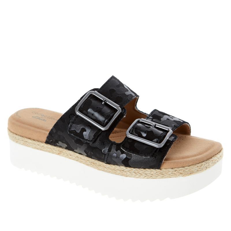 Clarks Collection Lana Beach Leather 2-Band Platform Slide