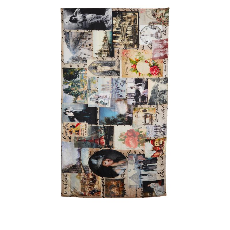 Clever Carriage Memories Collage Print Silk Scarf