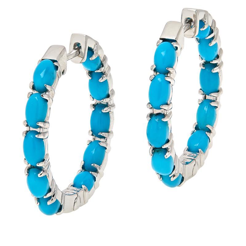 "Colleen Lopez 1"" Kingman Turquoise Inside-Outside Hoop Earrings"