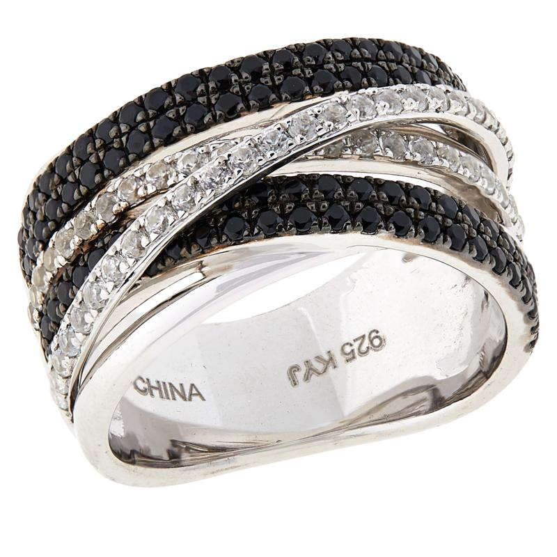 Colleen Lopez Black Spinel and White Zircon Multi-Row Ring