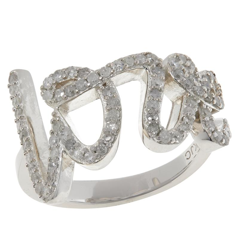 """Colleen Lopez Sterling Silver .54ctw Diamond """"Love"""" Ring"""