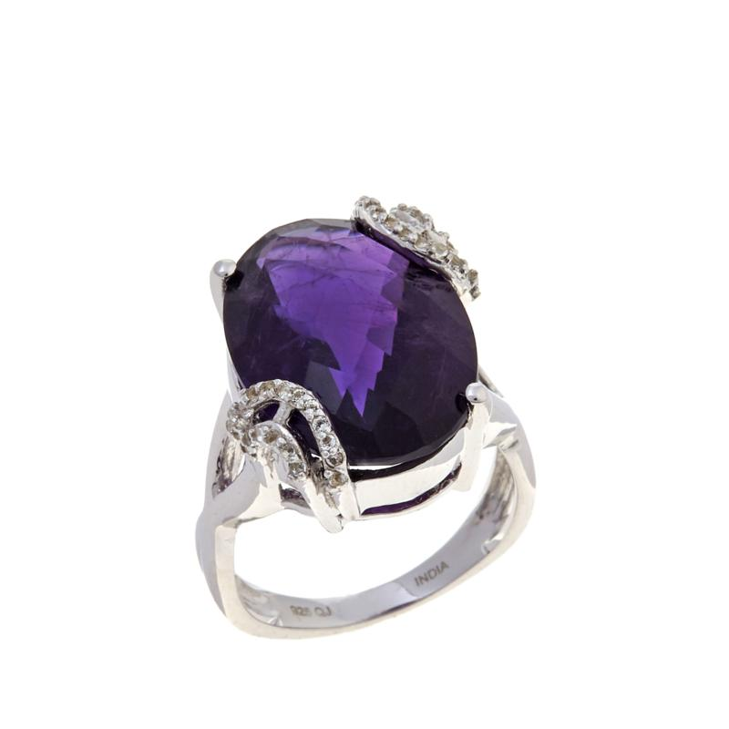 Colleen Lopez Sterling Silver African Amethyst and White Topaz Ring