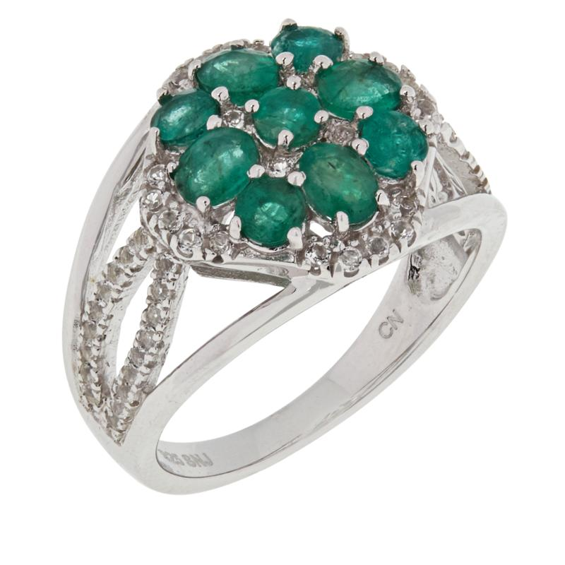 Colleen Lopez Sterling Silver Emerald and White Topaz Ring