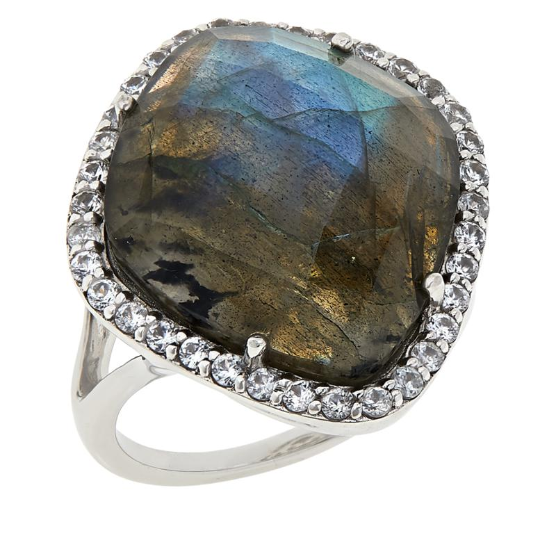 Colleen Lopez Sterling Silver Labradorite and White Zircon Ring
