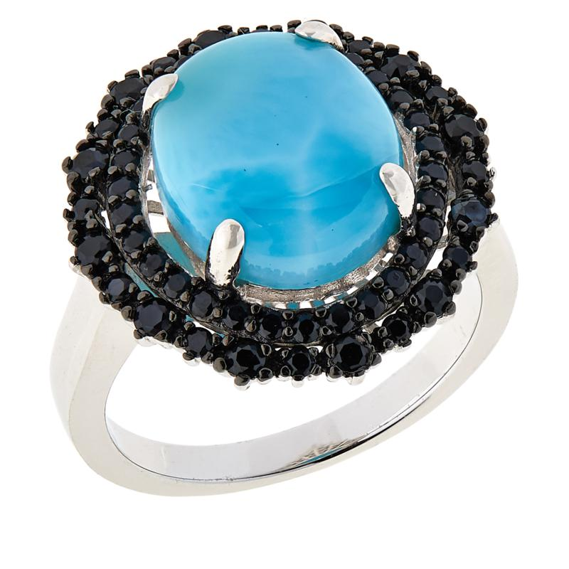 Colleen Lopez Sterling Silver Larimar and Black Spinel Oval Ring