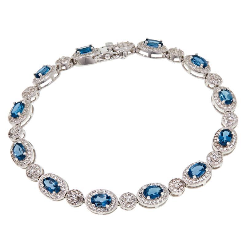 Colleen Lopez Sterling Silver London Blue Topaz & White Topaz Bracelet