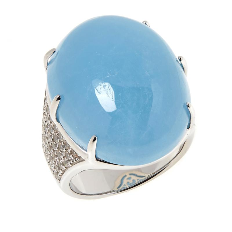 Colleen Lopez Sterling Silver Oval Aquamarine and White Zircon Ring