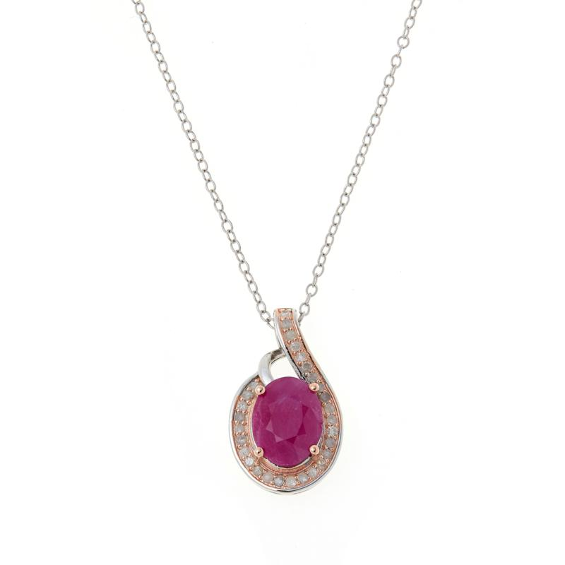 Colleen Lopez Sterling Silver Oval Ruby and Pink Diamond Pendant/Chain