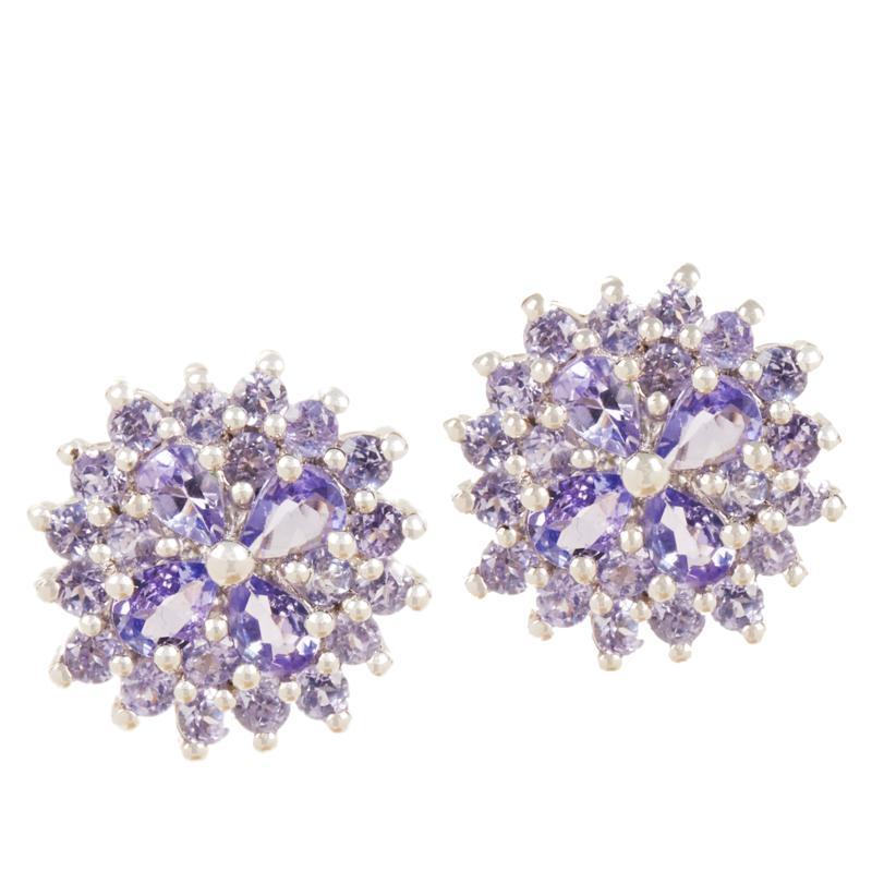 Colleen Lopez Sterling Silver Tanzanite Flower Stud Earrings