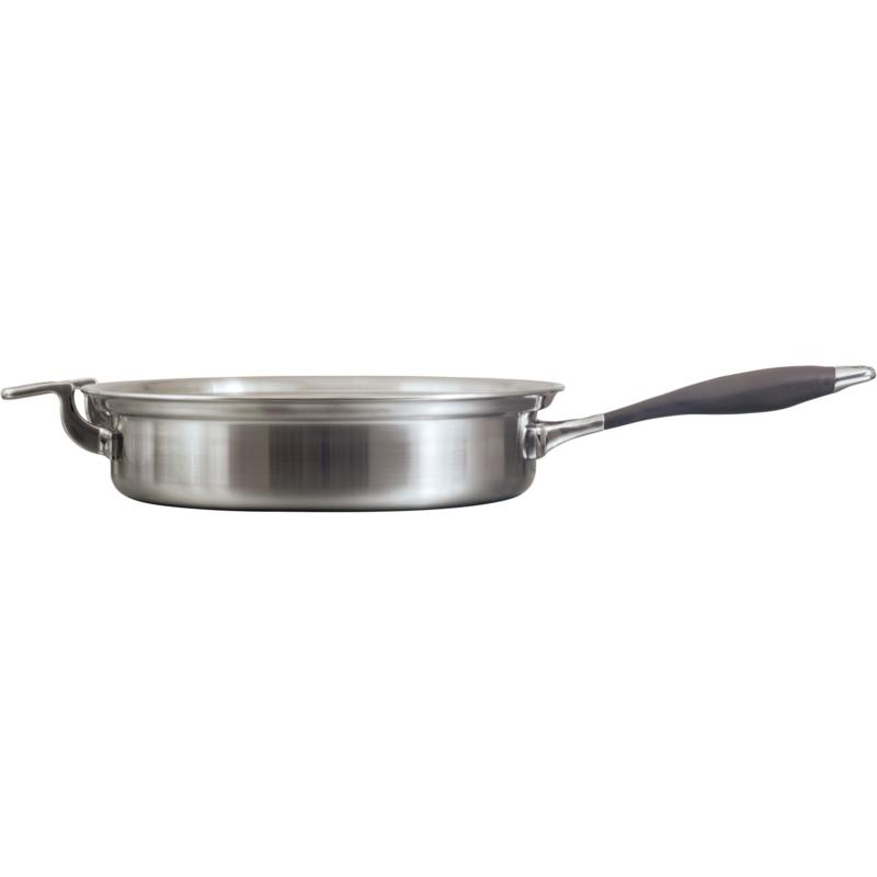 """CookCraft 10"""" Tri-Ply Stainless Steel Fry Pan with Silicone Handle"""
