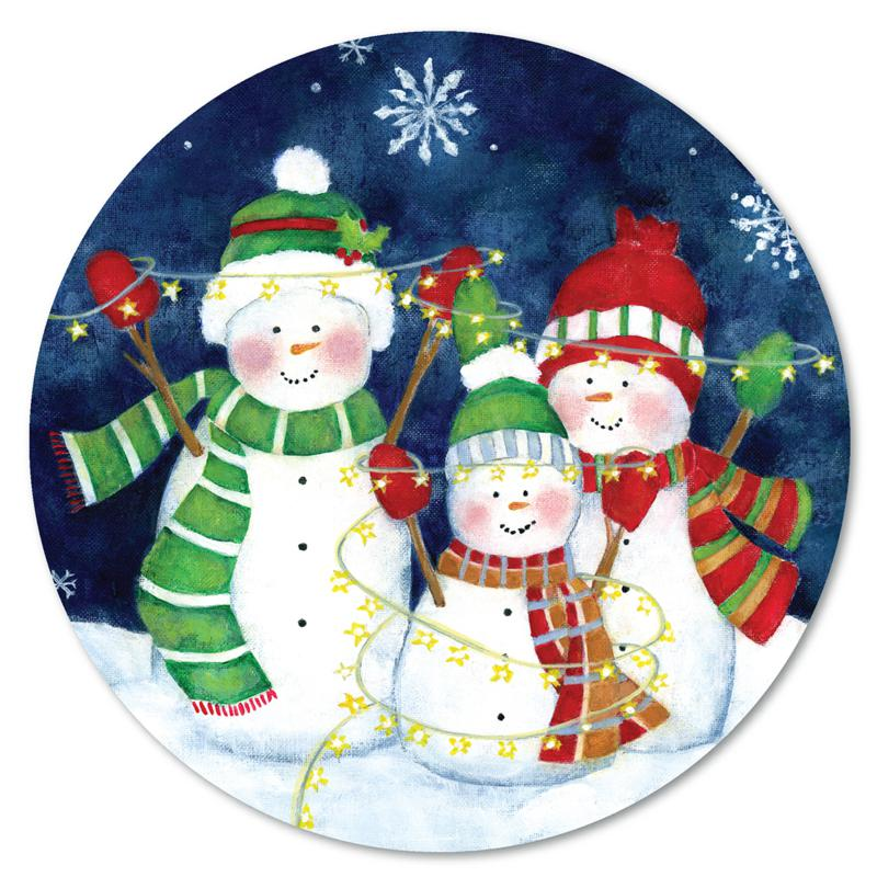 Courtside Market Festive Lights I Snowman 12x12 Circular Wood Décor