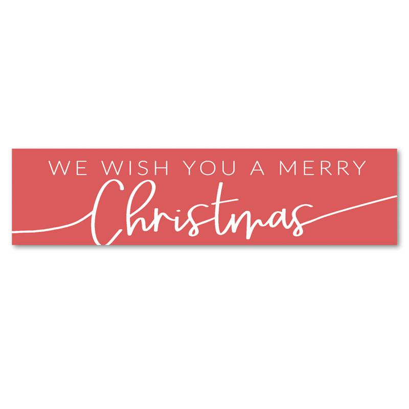 """Courtside Market We Wish You a Merry Christmas 6"""" x 24"""" Wooden Panel"""
