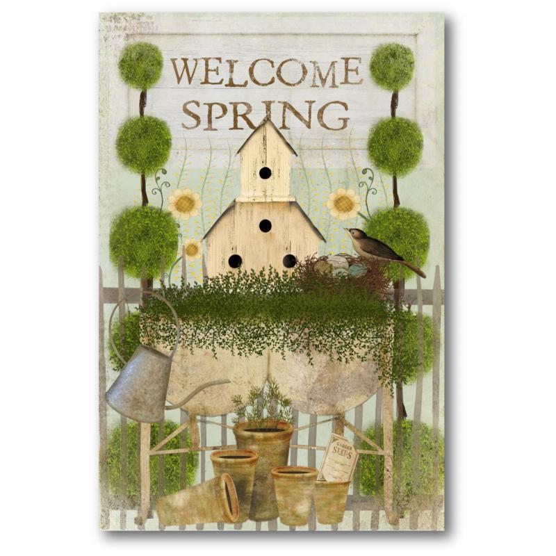 Courtside Market Welcome Spring 12x18 Canvas Wall Art