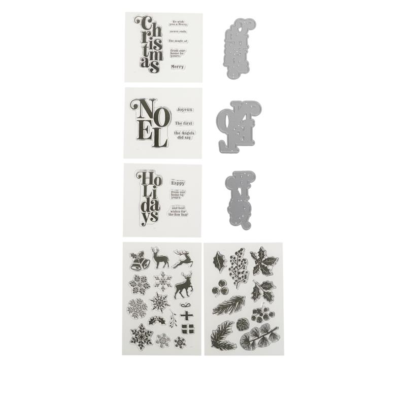 Crafter's Companion Cascading Christmas Sentiments Stamp and Die Set